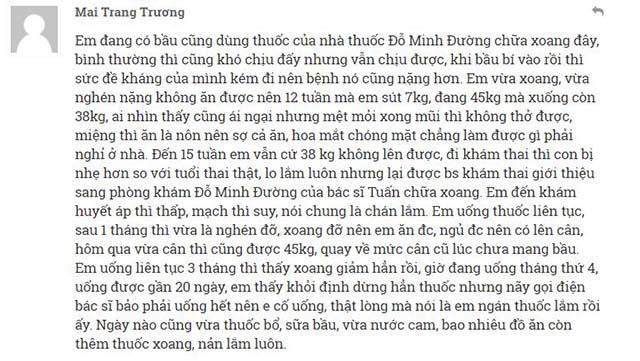 Phản hồi của chị Mai Trang Thương