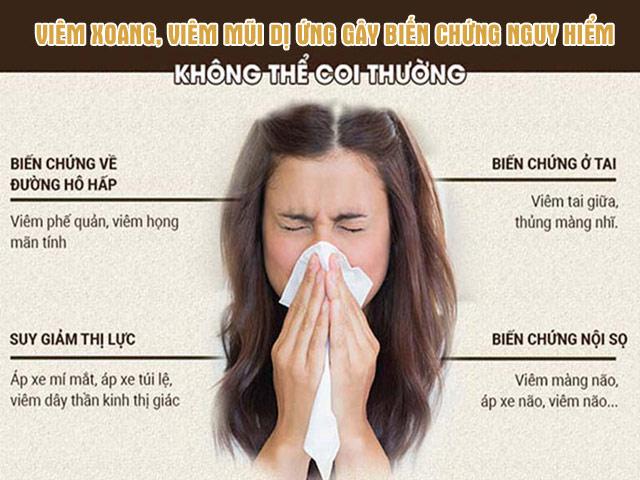 Một số biến chứng nguy hiểm của bệnh viêm xoang, viêm mũi dị ứng